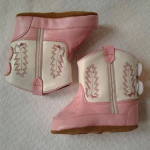 Old West Boots Baby Girls Poppet Pink 4 Leather